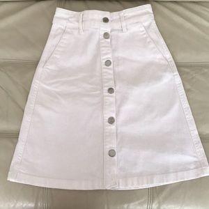 White button down H&M skirt